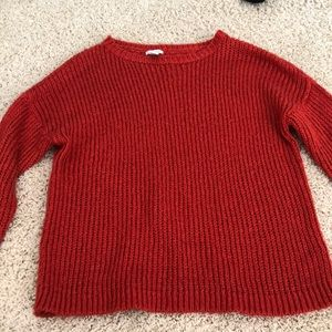 Red sweater oversized